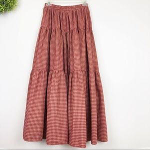 VTG Red Plaid Tiered Western Peasant Skirt S